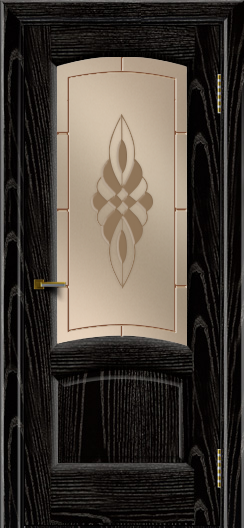 Двери ЛайнДор Анталия 2 эмаль черная тон 26 стекло Византия бронза