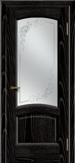 Двери ЛайнДор Анталия 2 эмаль черная тон 26 стекло 3Д Роза