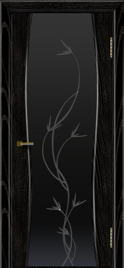 Двери ЛайнДор Арабика черная эмаль тон 26 стекло Флора