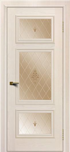 Двери ЛайнДор Афина Жемчуг тон 27 стекло Лилия бронза