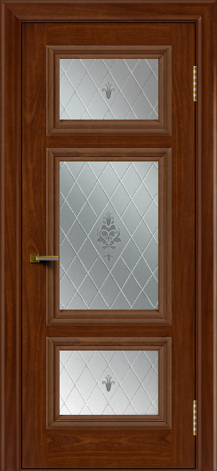 Двери ЛайнДор Афина красное дерево тон 10 стекло Лилия