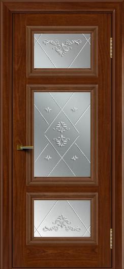 Двери ЛайнДор Афина красное дерево тон 10 стекло Прима
