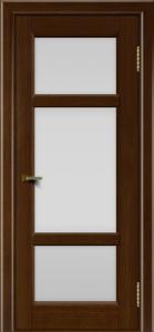 Двери ЛайнДор Афина 2 орех тон 2 стекло белое полное