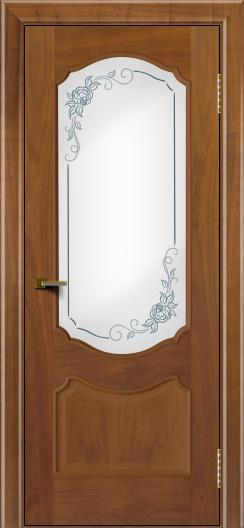 Двери ЛайнДор Богема американский орех тон 23 стекло Роза