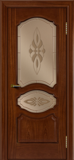 Двери ЛайнДор Богема красное дерево тон 10 стекло Византия бронза