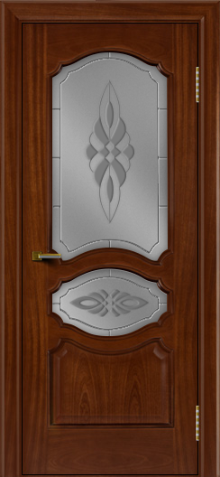 Двери ЛайнДор Богема красное дерево тон 10 стекло Византия