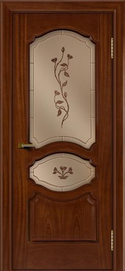 Двери ЛайнДор Богема красное дерево тон 10 стекло Маки
