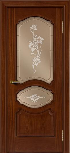Двери ЛайнДор Богема красное дерево тон 10 стекло Рим бронза