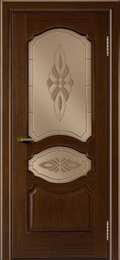 Двери ЛайнДор Богема орех тон 2 стекло Византия бронза