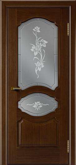 Двери ЛайнДор Богема орех тон 2 стекло Рим