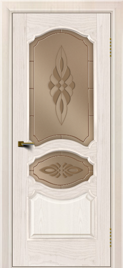 Двери ЛайнДор Богема ясень жемчуг тон 27 стекло Византия бронза