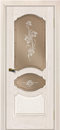 Двери ЛайнДор Богема ясень жемчуг тон 27 стекло Рим бронза