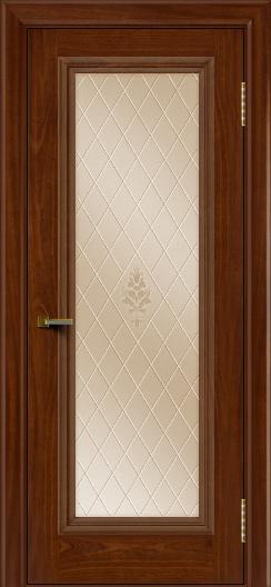 Двери ЛайнДор Валенсия красное дерево тон 10 стекло Лилия бронза