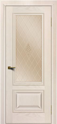 Двери ЛайнДор Виолетта жемчуг тон 27 стекло Лилия бронза