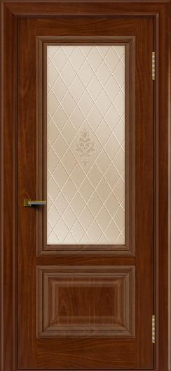Двери ЛайнДор Виолетта красное дерево тон 10 стекло Лилия бронза