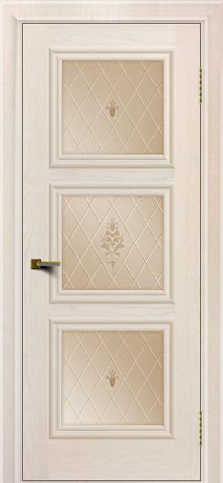 Двери ЛайнДор Грация жемчуг тон 27 стекло Лилия бронза