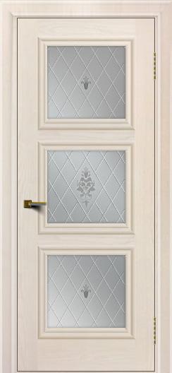 Двери ЛайнДор Грация жемчуг тон 27 стекло Лилия