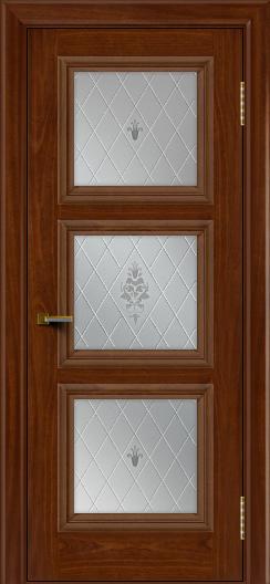Двери ЛайнДор Грация красное дерево тон 10 стекло Лилия