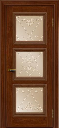 Двери ЛайнДор Грация красное дерево тон 10 стекло Прима бронза