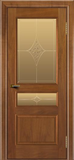 Двери ЛайнДор Калина американский орех тон 23 стекло Гелиос