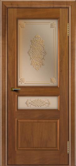 Двери ЛайнДор Калина американский орех тон 23 стекло Дамаск бронза 2