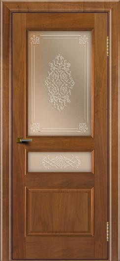Двери ЛайнДор Калина американский орех тон 23 стекло Дамаск бронза