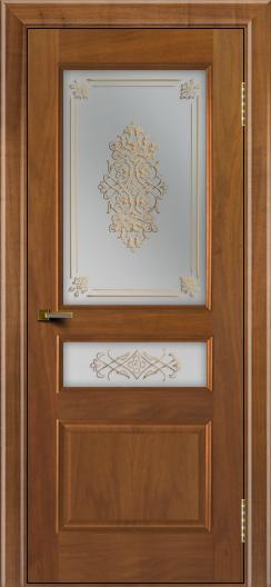 Двери ЛайнДор Калина американский орех тон 23 стекло Дамаск