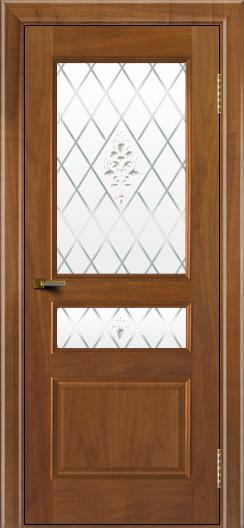 Двери ЛайнДор Калина американский орех тон 23 стекло Лилия