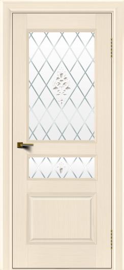 Двери ЛайнДор Калина беленый дуб тон 16 стекло Лилия