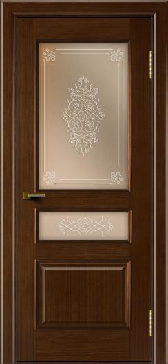 Двери ЛайнДор Калина орех тон 2 стекло Дамаск бронза