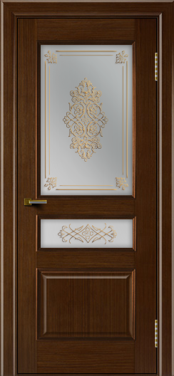 Двери ЛайнДор Калина орех тон 2 стекло Дамаск