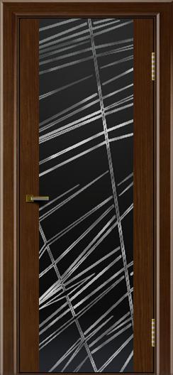 Двери ЛайнДор Камелия К орех тон 2 стекло Графит