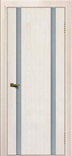 Двери ЛайнДор Камелия К2 ясень жемчуг тон 27 стекло Белое