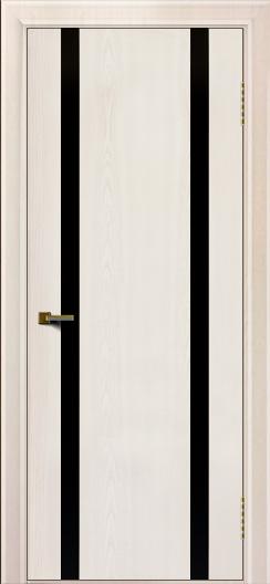 Двери ЛайнДор Камелия К2 ясень жемчуг тон 27 стекло Черное