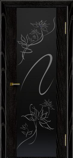 Двери ЛайнДор Камелия черная эмаль тон 26 стекло Камелия