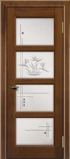 Двери ЛайнДор Классика 2 американский орех тон 23 стекло Классика 4