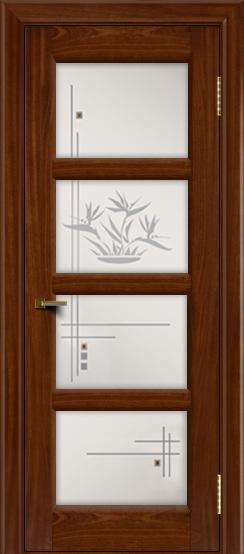 Двери ЛайнДор Классика 2 красное дерево тон 10 стекло Классика 4