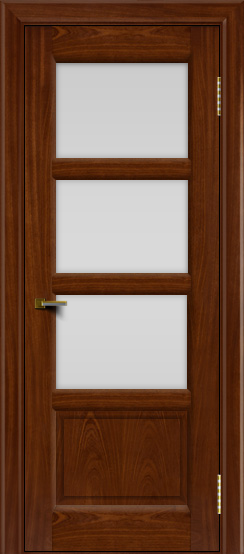 Двери ЛайнДор Классика 2 красное дерево тон 10 стекло белое 3