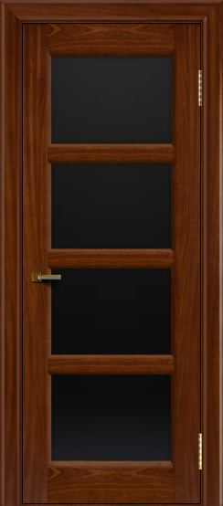 Двери ЛайнДор Классика 2 красное дерево тон 10 стекло черное 4