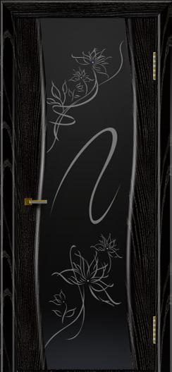 Двери ЛайнДор Лайма черная эмаль тон 26 стекло Камелия