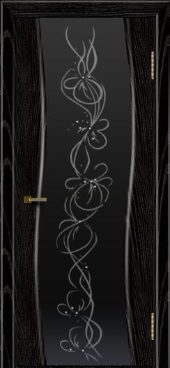Двери ЛайнДор Лайма черная эмаль тон 26 стекло Фантазия
