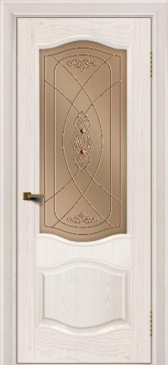 Двери ЛайнДор София ясень жемчуг тон 27 стекло Фреза бронза