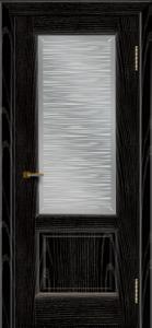 Двери ЛайнДор Эстела эмаль черная тон 26 стекло Волна