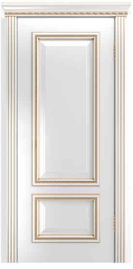 Двери Лайндор Виолетта-Д эмаль белая золотая патина карниз