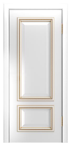 Двери Лайндор Виолетта-Д эмаль белая золотая патина