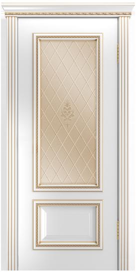 Двери Лайндор Виолетта-Д эмаль белая золотая стекло Лилия бронза