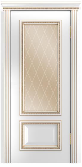 Двери Лайндор Виолетта-Д эмаль белая золотая стекло Лондон бронза