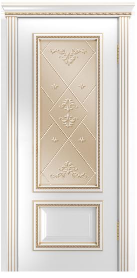 Двери Лайндор Виолетта-Д эмаль белая золотая стекло Прима бронза