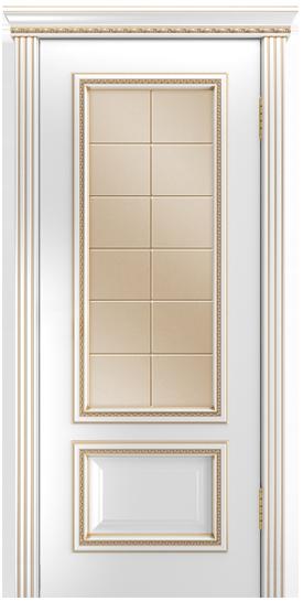 Двери Лайндор Виолетта-Д эмаль белая золотая стекло Решетка бронза