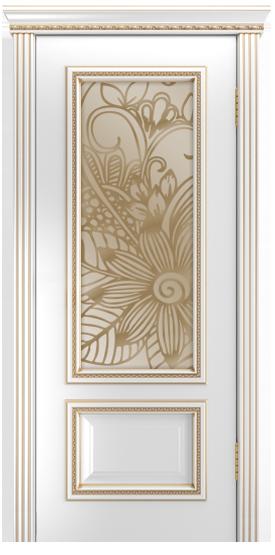 Двери Лайндор Виолетта-Д эмаль белая золотая стекло Соната бронза